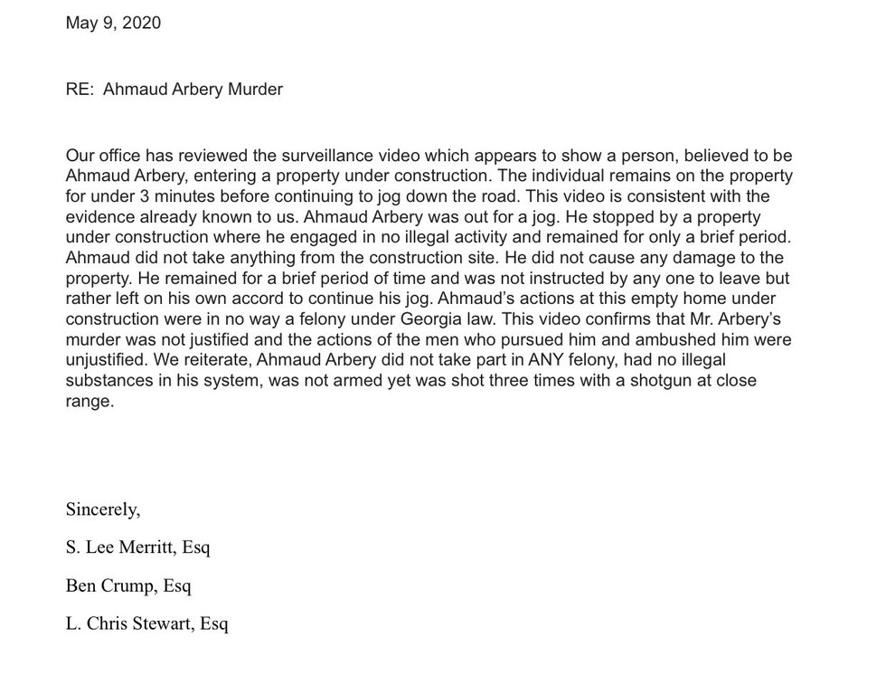 Statement from Arbery family attorneys