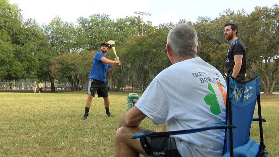 A few newcomers joined the members of the GAA to learn hurling and Gaelic football in Forsyth...