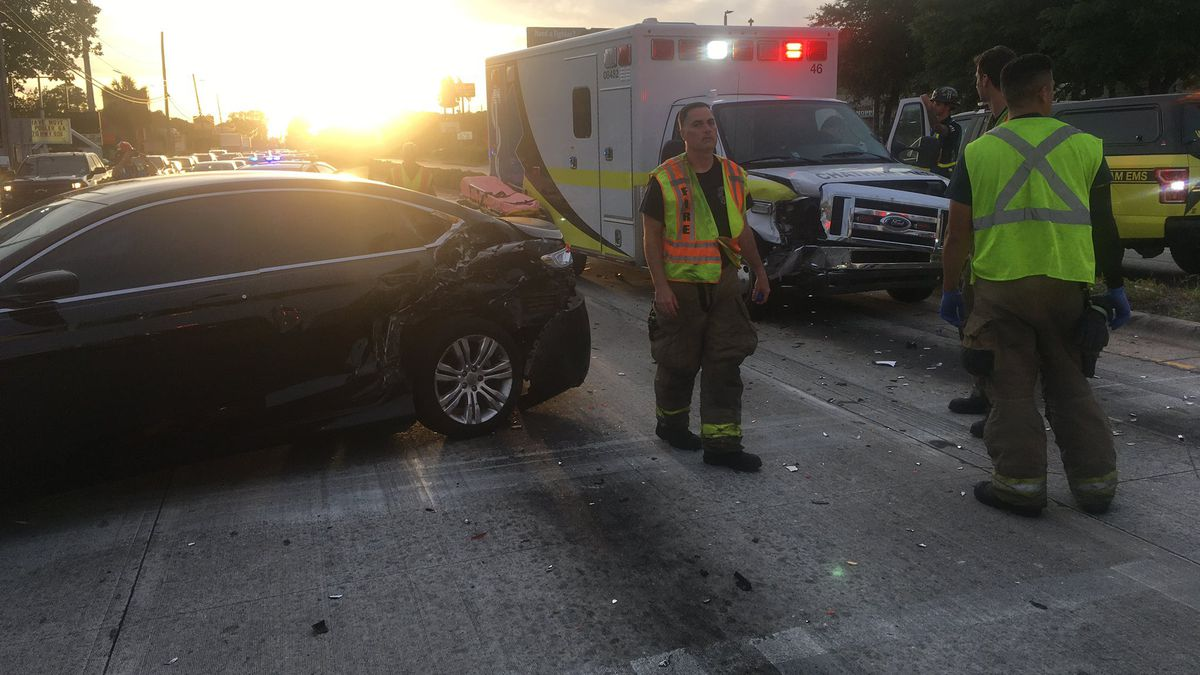 An accident involving an ambulance briefly closed lanes of East Derenne Avenue Saturday evening.