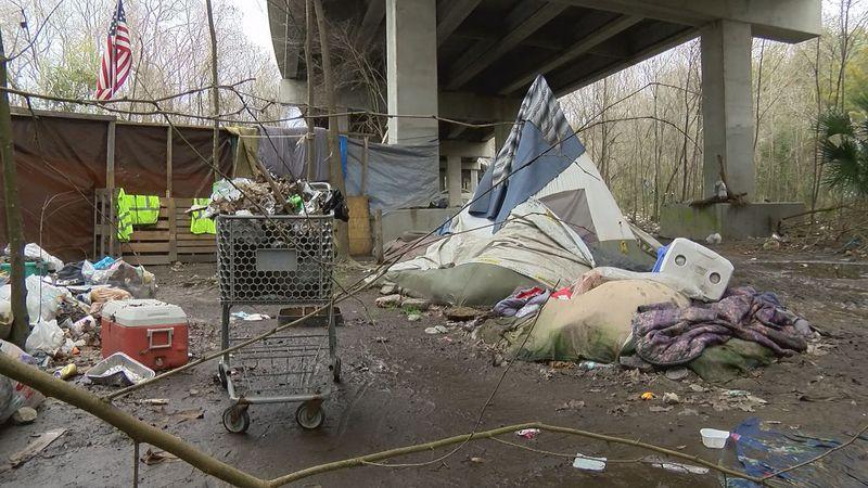 A homeless camp in Savannah, Ga.
