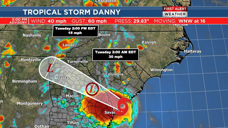 Danny will continue to weaken overnight.