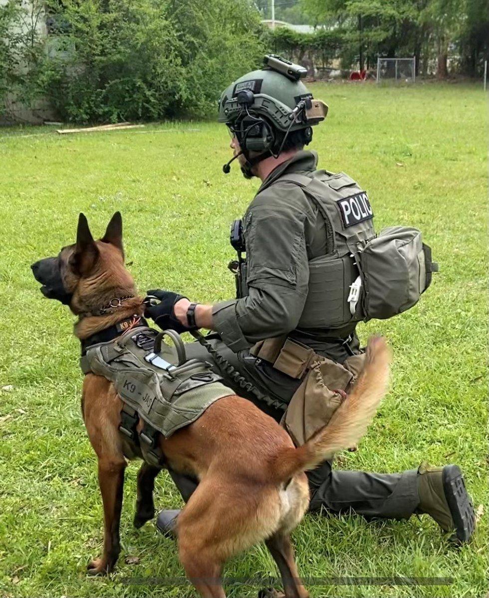 K-9 Jas and Savannah Police Officer Jon Lindsey were a part of SPD's SWAT Team.