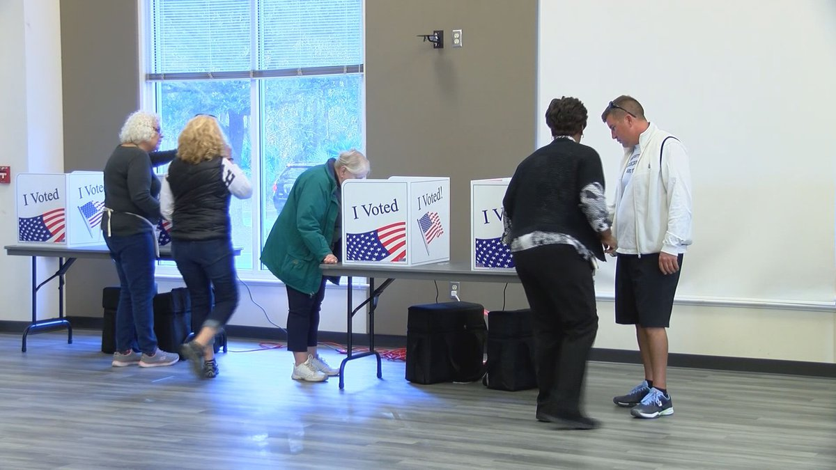 Voters and poll workers in Beaufort County during the primary election.