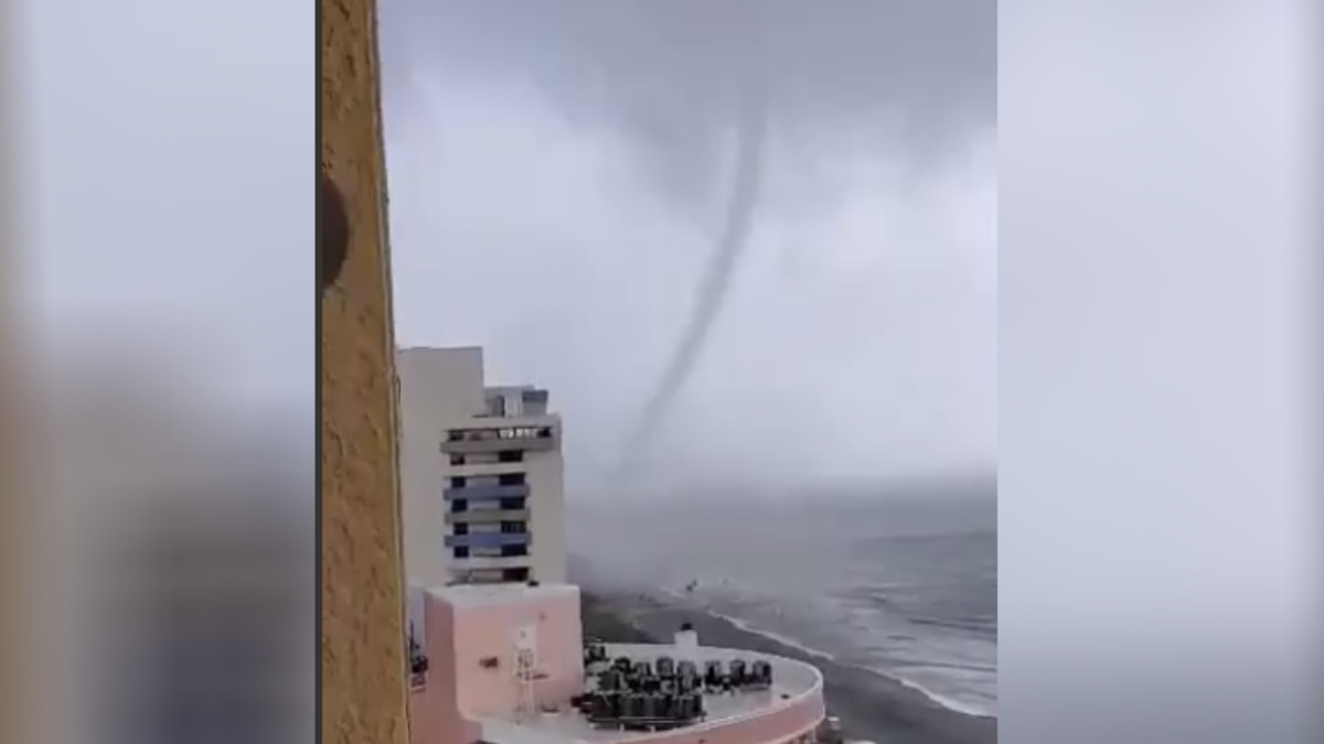 A tornado touched down in Myrtle Beach near 64th Avenue North, sending some beach chairs flying.
