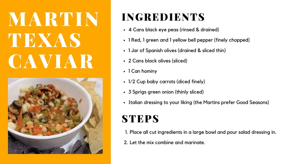 """First Alert Meteorologist Cutter Martin shared the ingredients and recipe for """"Martin Texas..."""