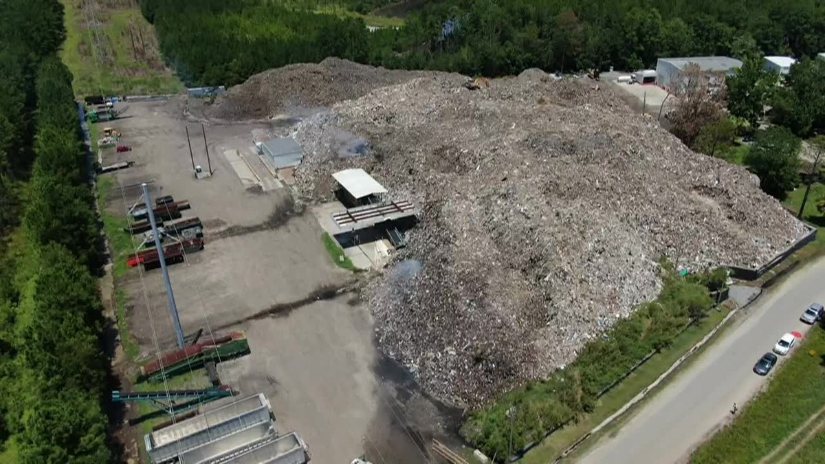 Massive trash pile in Jasper County when cleanup started