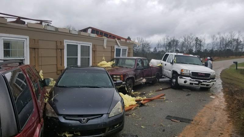 Severe weather storm damage in Beauregard, AL