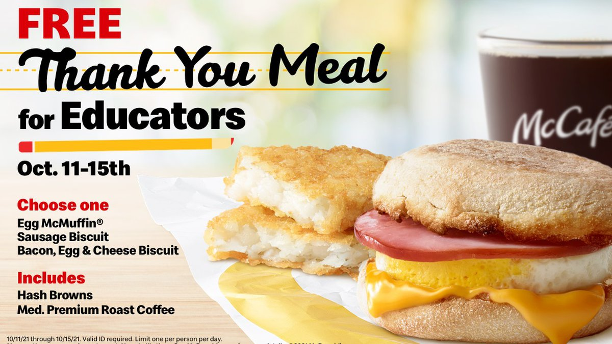 During breakfast hours, staff will be able to choose from the Egg McMuffin, a Sausage Biscuit,...