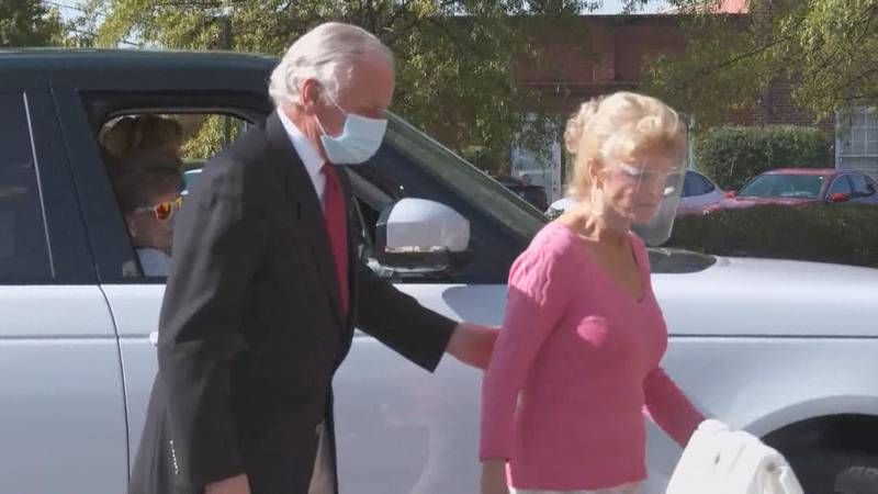 Gov. Henry McMaster and his wife, Peggy McMaster, enter a polling location in Columbia on Nov....