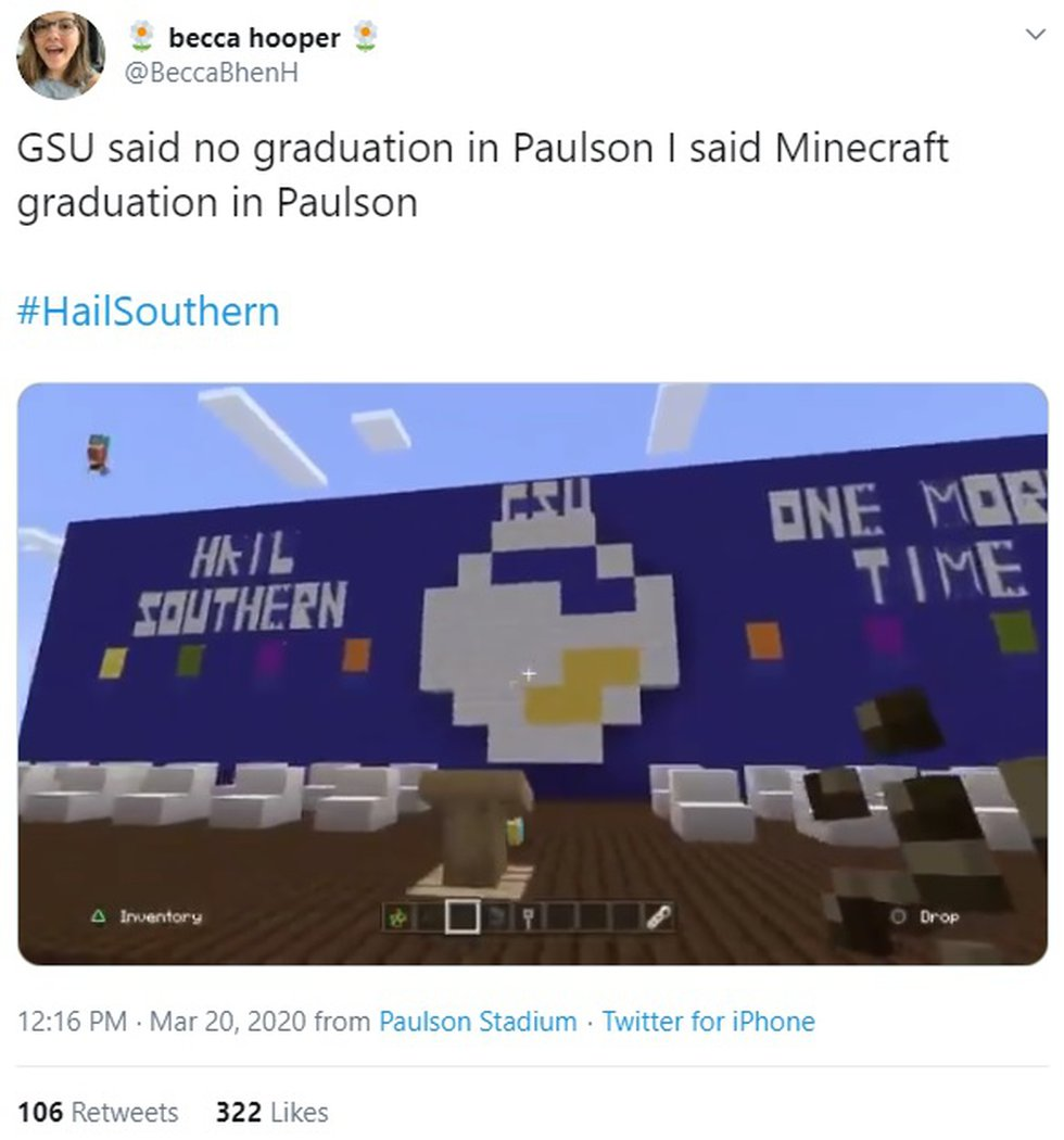Paulson Stadium and the Georgia Southern University graduation ceremony created in Minecraft.