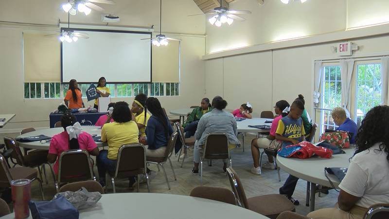 Young women learn about preparing for an emergency situation.