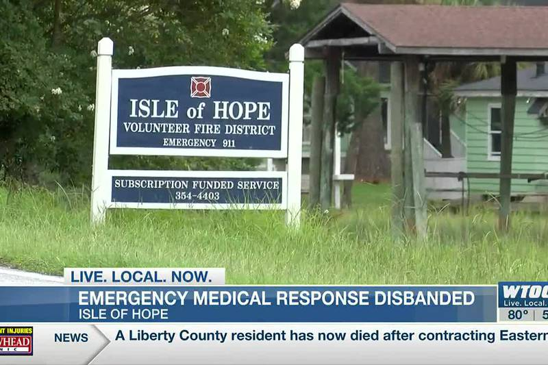 Emergency medical response disbanded for Isle of Hope's volunteer fire department