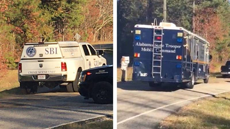 Heavy response vehicles including the Alabama State Trooper Mobile Command Center and the State...
