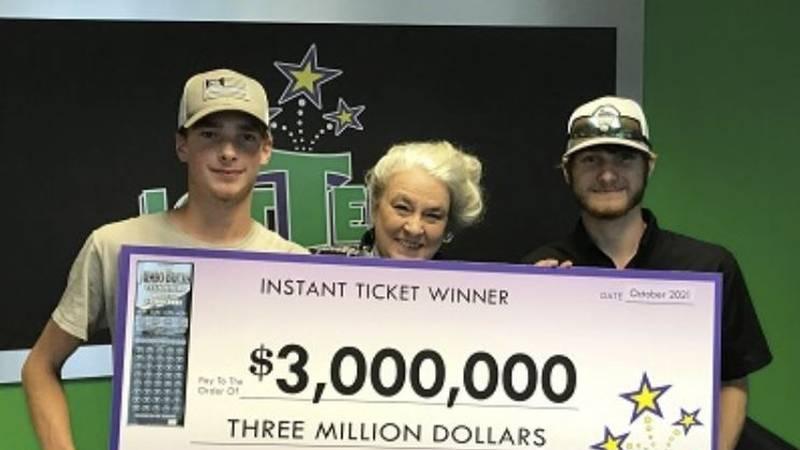 Wyatt Close and Brandon Thompson won $3 million on a Jumbo Bucks Titanium ticket.